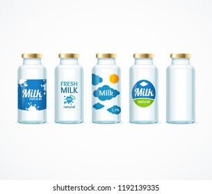 Realistic Detailed 3d Milk Bottle Template Set with Labels and Empty Dairy Natural Product. Vector illustration of Bottles