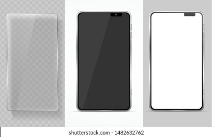 Realistic Detailed 3d Mobile Phone and Glass Empty Template Mockup Set on a Background. Vector illustration of Smartphone