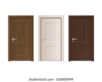 Realistic Detailed 3d Modern Closed Wooden Doors Set for Home and Office Interior. Vector illustration of Door