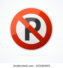Realistic Detailed 3d No Parking Traffic Red Round Sign. Vector illustration of Warning and Forbidden Information Symbol