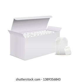 Realistic Detailed 3d Open Full White Blank Tea Box and Teabag Empty Template Mockup Set. Vector illustration