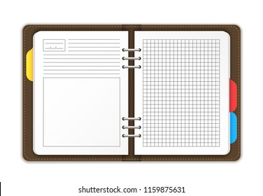 Realistic Detailed 3d Open Personal Empty Template Organizer Planner Reminder or Plan Concept. Vector illustration of Business Diary