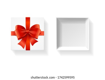 Realistic Detailed 3d Open White Present Box with Shiny Satin Ribbon Top View. Vector illustration of Giftbox