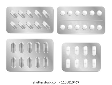 Realistic Detailed 3d Packaging for Drugs Set. Vector illustration of Blisters with Pills for Treatment and Illness