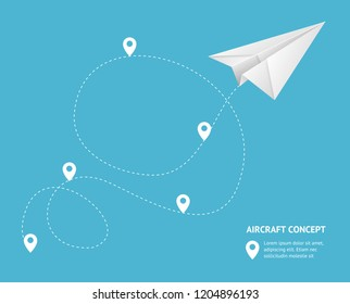 Realistic Detailed 3d Paperplane and Track Aircraft Concept Placard Banner Card Graphic Design for Ad. Vector illustration