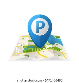 Realistic Detailed 3d Parking Blue Tag Pin for App on a White Background for Navigation. Vector illustration