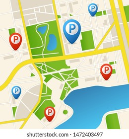 Realistic Detailed 3d Parking City Map for App Card Background with Color Tag Pin for Travel. Vector illustration