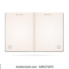 Realistic Detailed 3d Passport Blank Open Page Sheet Isolated on White Background . Vector illustration of Layout Template