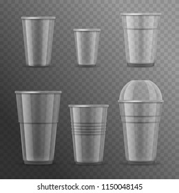 Realistic Detailed 3d Plastic Cups Template Mockup Set on a Transparent Background for Coffee, Tea and Drink. Vector illustration