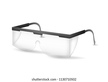 black plastic protective work glasses isolated stock photo edit now