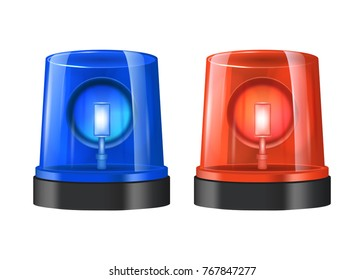 Realistic Detailed 3d Police Lights Beacon Flashing Red and Blue Set Isolated on White Background. Vector illustration of Sirens