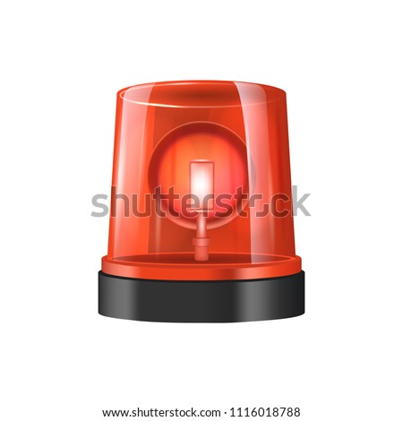 realistic detailed 3 d police lights beacon stock vector (royaltyrealistic detailed 3d police lights beacon flashing red isolated on white background vector illustration of