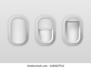Realistic Detailed 3d Portholes of Airplane with Open and Closed View Window Set. Vector illustration of Porthole