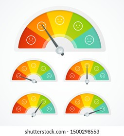 Realistic Detailed 3d Rating Feedback Meter Set and Thin Line Icons. Vector illustration of Quality Survey Concept