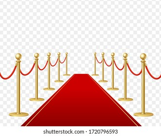 Realistic Detailed 3d Red Carpet and Barrier Rope on a Transparent Background Symbol of Ceremony. Vector illustration