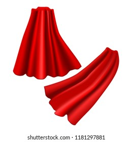 Realistic Detailed 3d Red Cloaks Costume Superhero Element Set Silk or Satin Material. Vector illustration of Cloak