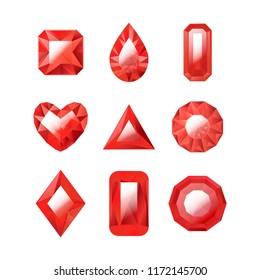 Realistic Detailed 3d Red Jewels Set Different Types Gem or Crystal for Luxury Jewelry . Vector illustration of Precious Stone
