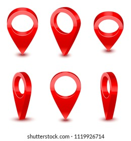 Realistic Detailed 3d Red Map Pointer Pin Set Different View Symbol of Location and Navigation. Vector illustration of Pins