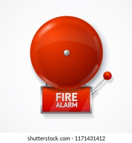 Realistic Detailed 3d Red School, Fire or Alarm Bell Set Isolated on a White Background. Vector illustration