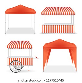 Realistic Detailed 3d Red and Striped Blank Market Stall Empty Template Mockup Set. Vector illustration of Stalls