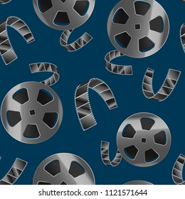 Realistic Detailed 3d Reel of Film Tape Movie Cinema Seamless Pattern Background Video Entertainment Element. Vector illustration of Cinematography Industry Equipment