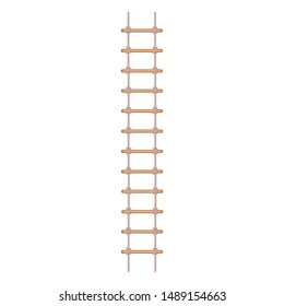 Realistic Detailed 3d Rope Ladder or Stair Symbol of Accessibility, Adventure, Opportunity and Ambition on a White. Vector illustration of Staircase