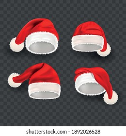 Realistic Detailed 3d Santa Hat Set on a Transparent Background Symbol of Winter Holiday. Vector illustration