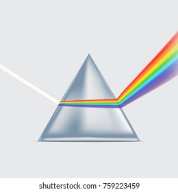 Realistic Detailed 3d Spectrum Prism and Light Rays on a Grey Background Symbol of Experiment Education and Research Science. Vector illustration