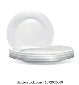 Realistic Detailed 3d Stack of Clean Plates for Kitchen Restaurant . Vector illustration of Pile Ceramic Dish