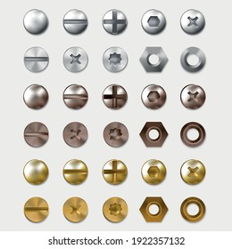 Realistic Detailed 3d Steel or Brass Heads Screws Set Top View. Vector illustration of Bolt Head