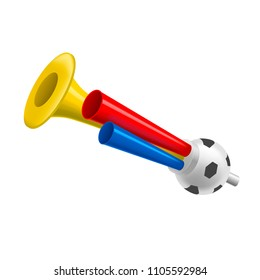 Realistic Detailed 3d Trumpets Football Fan Soccer Game Championship Element Pipe for Noise. Vector illustration of Horn Toy