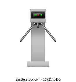 Realistic Detailed 3d Turnstile Entrance Access Control System Boundary Concept Electronic Tourniquet. Vector illustration of Barrier Security