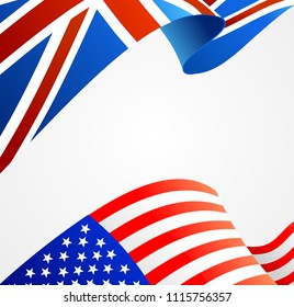 Realistic Detailed 3d United Kingdom and USA Flag Background Card. Vector illustration of England and American Wavy Flags