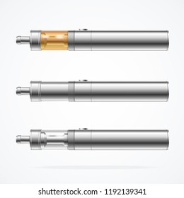 Realistic Detailed 3d Vape Pen or Electronic Cigarette Different Type Set Device for Vaping. Vector illustration of Vaporizer E-sigaret