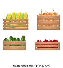 Realistic Detailed 3d Vegetables Wooden Box Set Include of Agriculture Harvest, Fresh Organic Natural Vegetable. Vector illustration