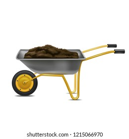 Realistic Detailed 3d Wheelbarrow Equipment for Gardening and Agriculture Work Isolated on a White Background. Vector illustration