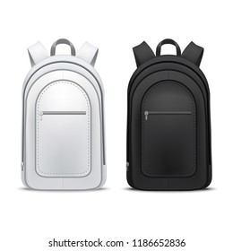 Realistic Detailed 3d White and Black Blank School Backpacks Empty Template Mockup Set. Vector illustration of Mock Up Backpack