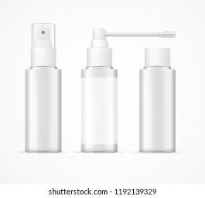 Realistic Detailed 3d White Blank Bottle Spray Template Mockup Set for Perfume, Lotion or Deodorant. Vector illustration of Bottles
