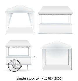 Realistic Detailed 3d White Blank Market Stall Emty Template Mockup Set for Retail Business. Vector illustration of Stalls
