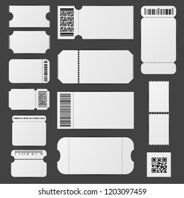 Realistic Detailed 3d White Blank Tickets Empty Template Mockup Set. Vector illustration of Ticket on a Grey