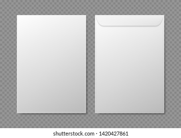 Realistic Detailed 3d White Blank Envelopes Empty Template Mockup Set for Business Papers. Vector illustration of Envelope
