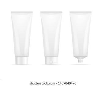 Realistic Detailed 3d White Blank Tube Cream Template Mockup Set. Vector illustration for Cosmetic Product - Gel or Toothpaste