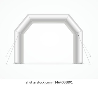 Realistic Detailed 3d White Blank Square Inflatable Archway Empty Template Mockup. Vector illustration of Mock Up Arch Gate