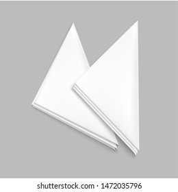 Realistic Detailed 3d White Blank Restaurant Napkin or Serviette Empty Template Mockup Set. Vector illustration of Paper Napkins