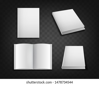 Realistic Detailed 3d White Blank Book Cover Empty Template Mockup Set on a Transparent Background. Vector illustration