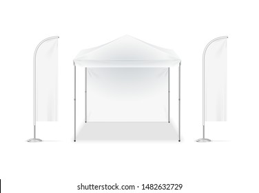 Realistic Detailed 3d White Blank Adv Beach Tent Flag Empty Template Mockup Set. Vector illustration