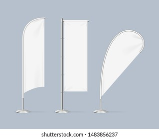Realistic Detailed 3d White Blank Adv Beach Flag Stand Empty Template Mockup Set on a Grey. Vector illustration