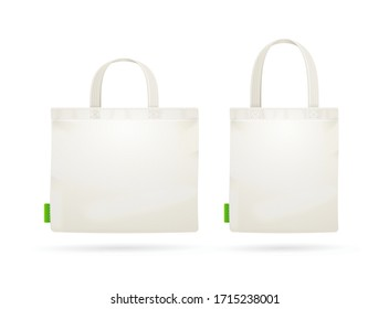 Realistic Detailed 3d White Blank Tote Bag Empty Template Mockup Set. Vector illustration of Mock Up Bags