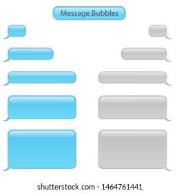 Realistic Detailed 3d White and Blue Blank Phone Chat Bubbles Empty Template Mockup Set for Text. Vector illustration