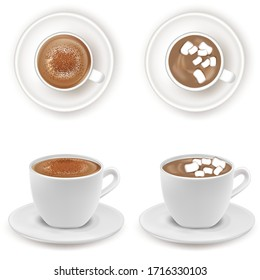 Realistic Detailed 3d White Cup with Cacao or Coffee and Marshmallows Set. Vector illustration of Tasty Hot Drink